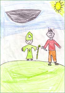 Artwork and story research by Stephen Corcoran & Jack Molloy, Coolderry National School, County Offaly, Ireland.